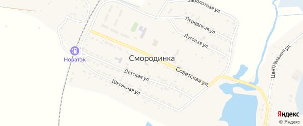 Солнечная улица на карте села Смородинки с номерами домов