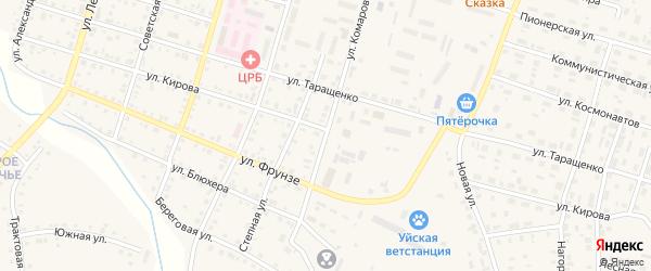 Улица Комарова на карте Уйского села с номерами домов