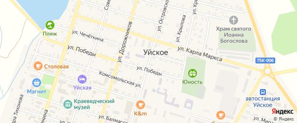 Улица Островского на карте Уйского села с номерами домов