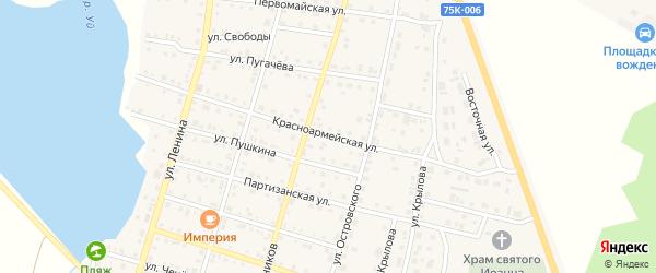 Красноармейская улица на карте Уйского села с номерами домов