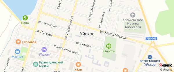 Пролетарская улица на карте Уйского села с номерами домов
