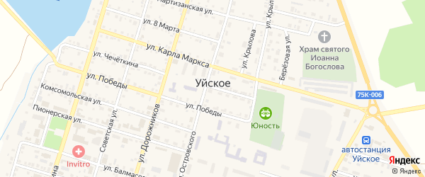 Зеленая улица на карте Уйского села с номерами домов