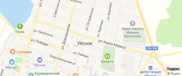 Улица Карла Маркса на карте Уйского села с номерами домов