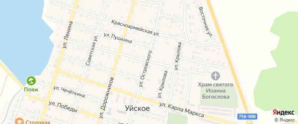 Партизанская улица на карте Уйского села с номерами домов