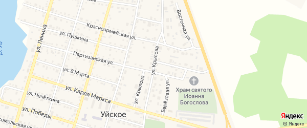 Улица Крылова на карте Уйского села с номерами домов