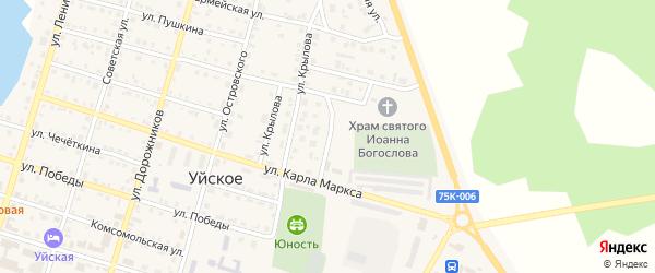 Березовая улица на карте Уйского села с номерами домов