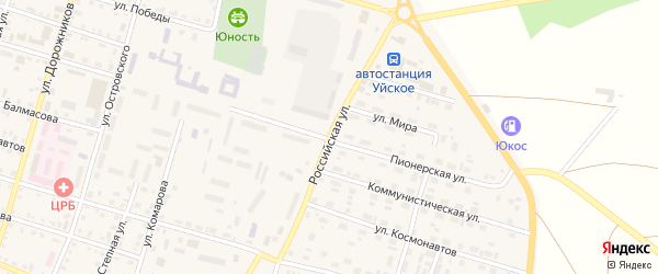 Российская улица на карте Уйского села с номерами домов