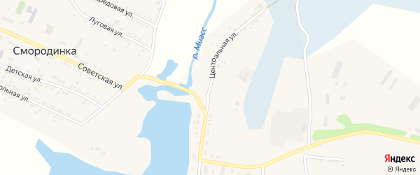 Центральная улица на карте села Смородинки с номерами домов