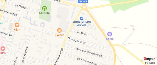 Улица Мира на карте Уйского села с номерами домов