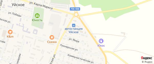 Интернациональная улица на карте Уйского села с номерами домов