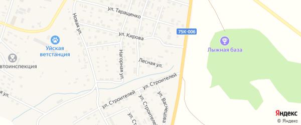 Лесная улица на карте Уйского села с номерами домов