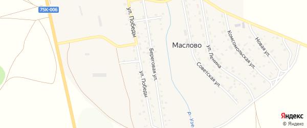 Береговая улица на карте села Маслово с номерами домов