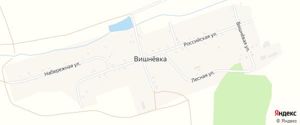 Набережная улица на карте поселка Вишневки с номерами домов