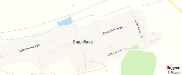 Российская улица на карте поселка Вишневки с номерами домов