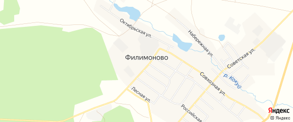 Карта села Филимоново в Челябинской области с улицами и номерами домов