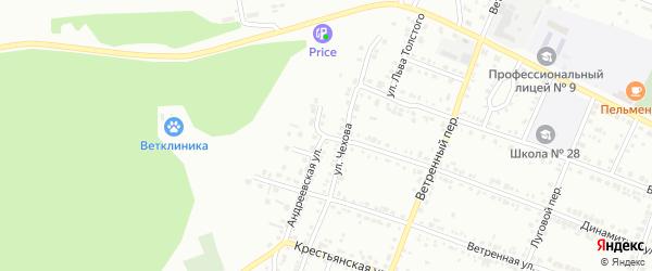 Андреевская улица на карте Миасса с номерами домов