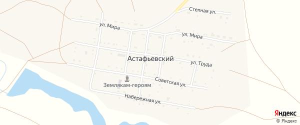 Западный переулок на карте Астафьевского поселка с номерами домов