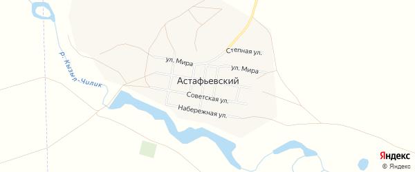 Карта Астафьевского поселка в Челябинской области с улицами и номерами домов
