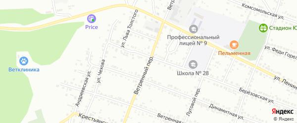 Ветренный переулок на карте Миасса с номерами домов