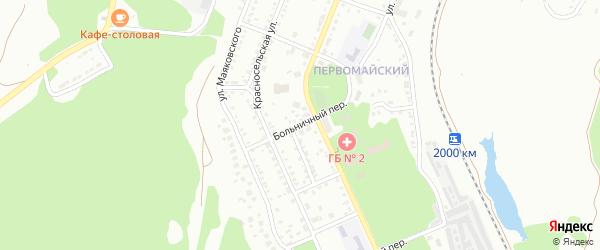 Больничный переулок на карте Миасса с номерами домов