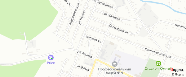 Световая улица на карте Миасса с номерами домов