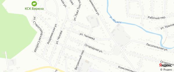 Улица Чапаева на карте Миасса с номерами домов