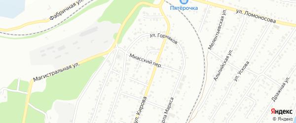 Миасский переулок на карте Миасса с номерами домов