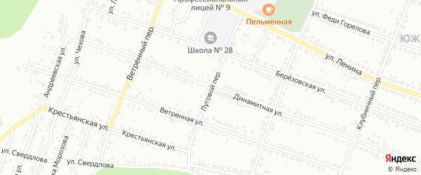 Луговой переулок на карте Миасса с номерами домов