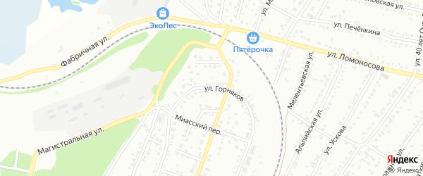 Улица Горняков на карте Миасса с номерами домов