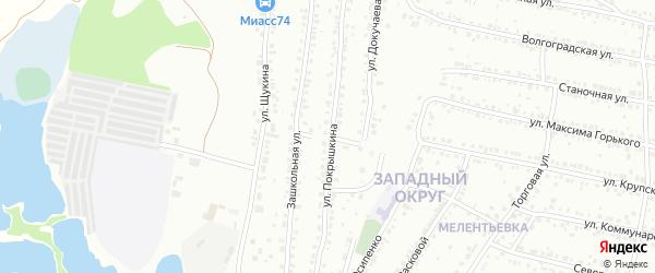 Зашкольный переулок на карте Миасса с номерами домов