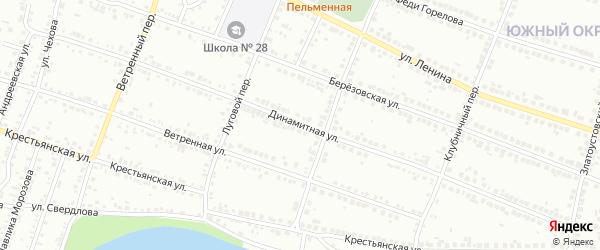 Динамитная улица на карте Миасса с номерами домов