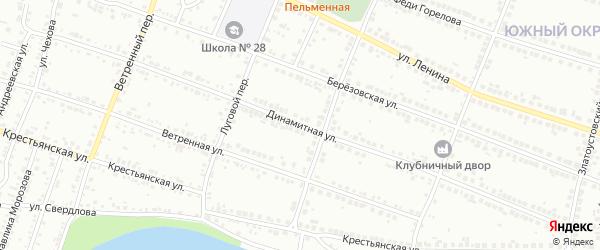 Динамитная улица на карте поселка Ленинска с номерами домов