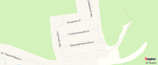 Строительная улица на карте Миасса с номерами домов