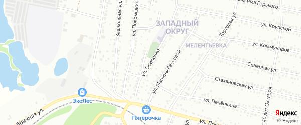 Улица Осипенко на карте Миасса с номерами домов