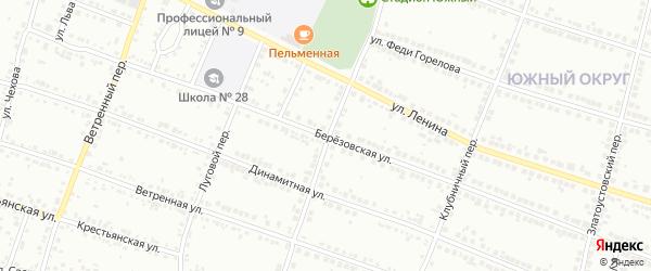 Березовская улица на карте Миасса с номерами домов