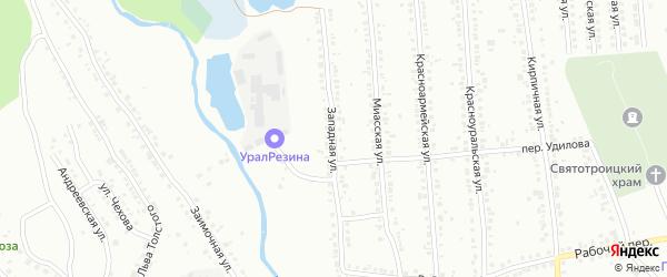 Западная улица на карте Миасса с номерами домов