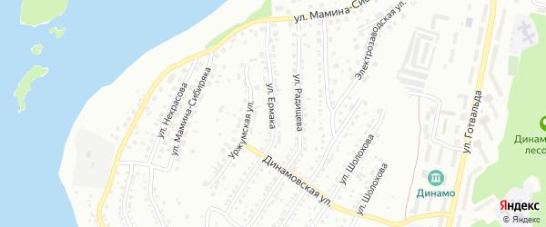 Улица Ермака на карте Миасса с номерами домов