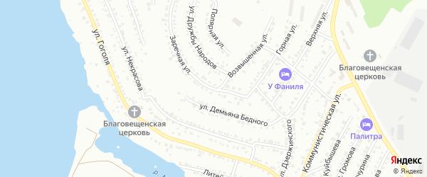 Заречная улица на карте села Устиново с номерами домов