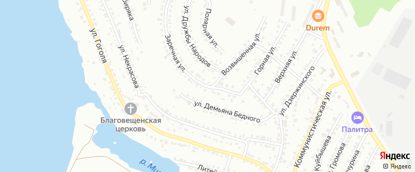 Заречная улица на карте Миасса с номерами домов