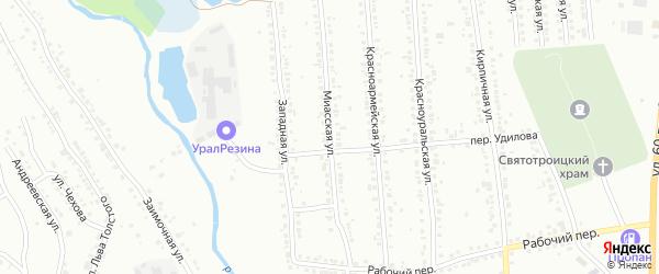 Миасская улица на карте поселка Нижнего Атляна с номерами домов