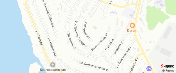 Полярная улица на карте Миасса с номерами домов