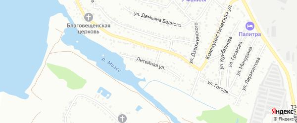 Литейная улица на карте Миасса с номерами домов