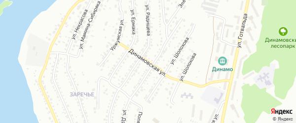 Динамовская улица на карте Миасса с номерами домов