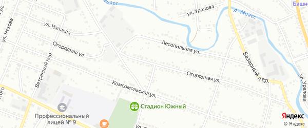 Огородная улица на карте Миасса с номерами домов