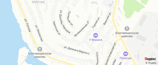Возвышенная улица на карте Миасса с номерами домов