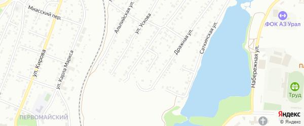 Фонарный переулок на карте Миасса с номерами домов