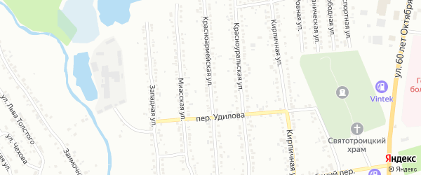 Красноармейская улица на карте Миасса с номерами домов