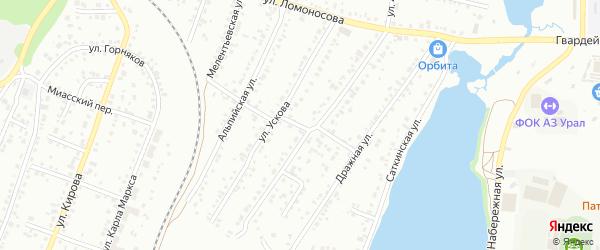 Малый переулок на карте Миасса с номерами домов