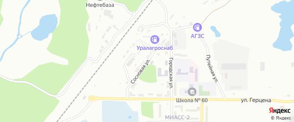 Сосновая улица на карте Миасса с номерами домов