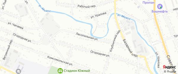 Лесопильная улица на карте Миасса с номерами домов